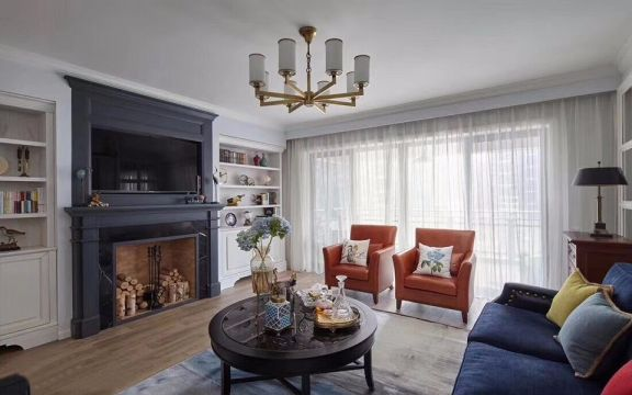 客厅白色落地窗美式风格装潢设计图片