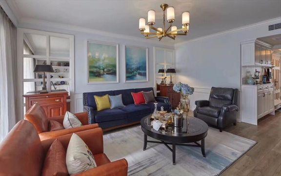 客厅白色背景墙美式风格装修效果图