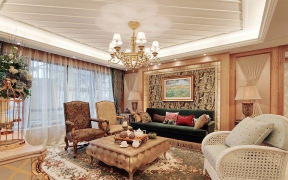 客厅白色吊顶田园风格装饰效果图