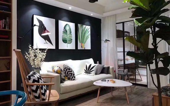 客厅白色沙发美式风格装潢效果图