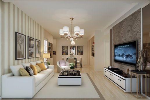 现代简约风格108平米两室两厅新房装修效果图