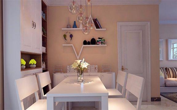 餐厅白色餐桌现代简约风格装饰效果图