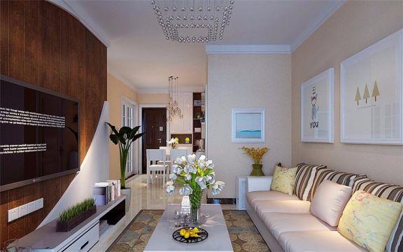 客厅白色电视柜现代简约风格装修图片