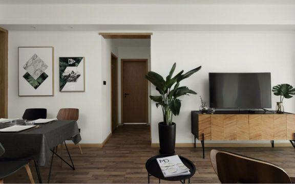 客厅咖啡色电视柜北欧风格装潢图片