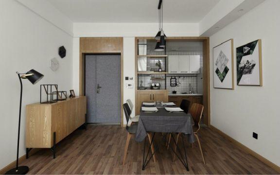 餐厅黑色餐桌北欧风格装修设计图片