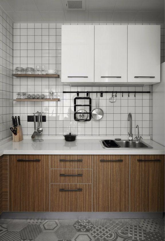 厨房咖啡色橱柜北欧风格装饰设计图片