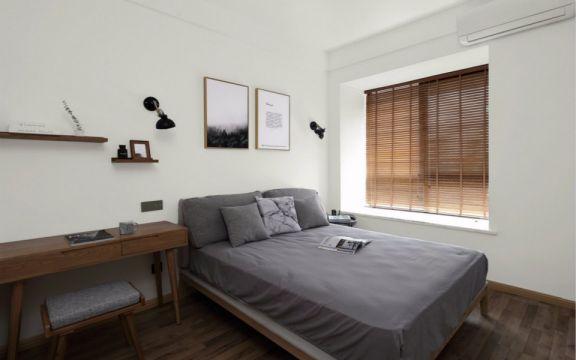 卧室灰色床北欧风格装潢设计图片