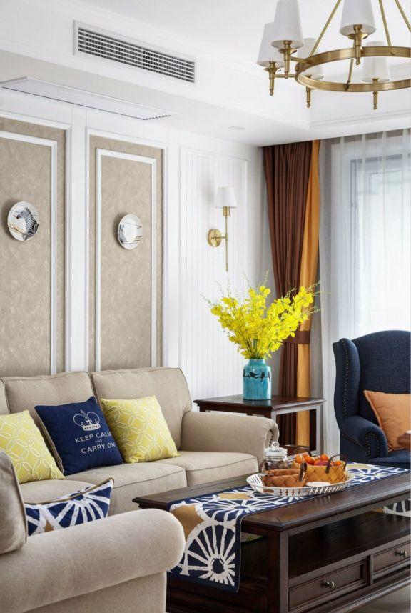 客厅咖啡色茶几北欧风格装潢图片