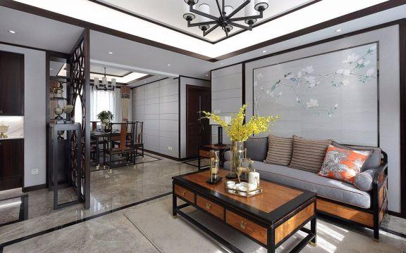 客厅灰色沙发新中式风格装修效果图