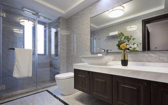 卫生间咖啡色洗漱台新中式风格装饰效果图