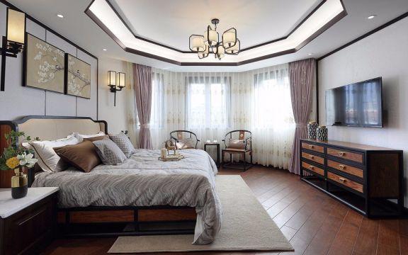 富丽新中式粉色窗帘设计方案