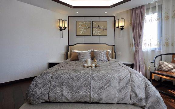 新中式卧室床装饰图