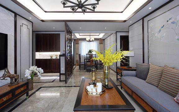 2018新中式客厅装修设计 2018新中式电视柜装修效果图片