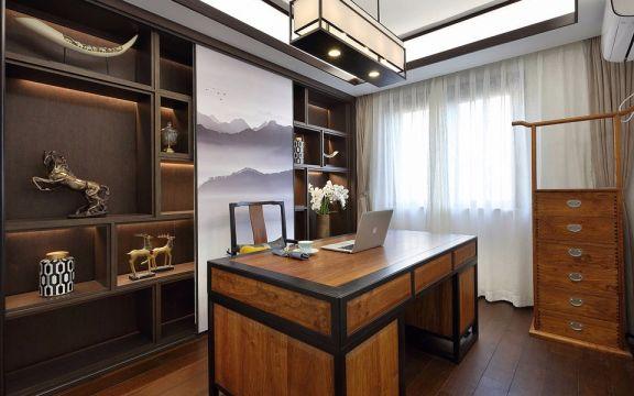 2018新中式书房装修设计 2018新中式窗帘设计图片