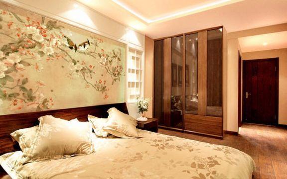 卧室咖啡色床新中式风格装修效果图