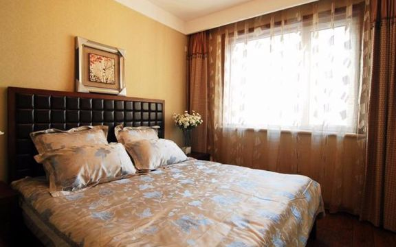 卧室黑色床新中式风格装潢效果图