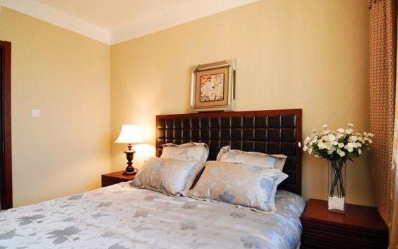卧室黑色床新中式风格装修图片