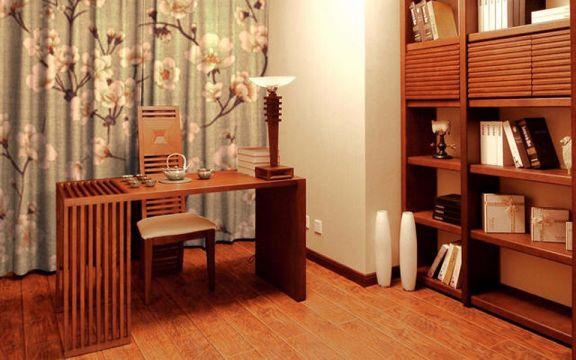 书房咖啡色书桌新中式风格装饰图片