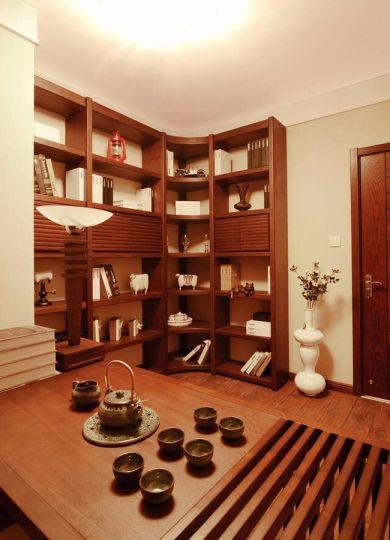 书房咖啡色地板砖新中式风格装潢图片
