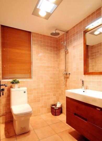 卫生间咖啡色洗漱台新中式风格装饰设计图片