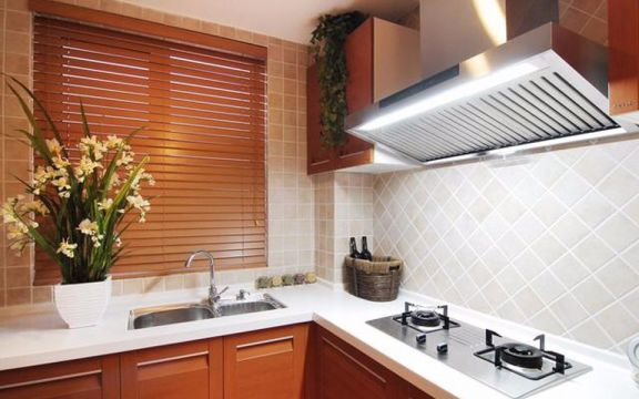 厨房咖啡色橱柜新中式风格效果图