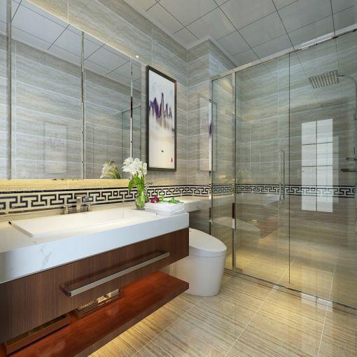 2018中式卫生间装修图片 2018中式洗漱台装修设计图片