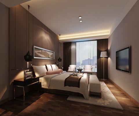时尚咖啡色卧室装潢效果图