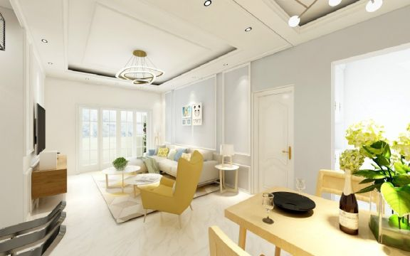 客厅白色北欧风格装饰设计图片