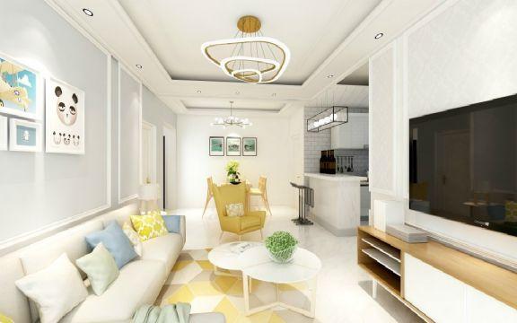 客厅白色北欧风格装潢设计图片