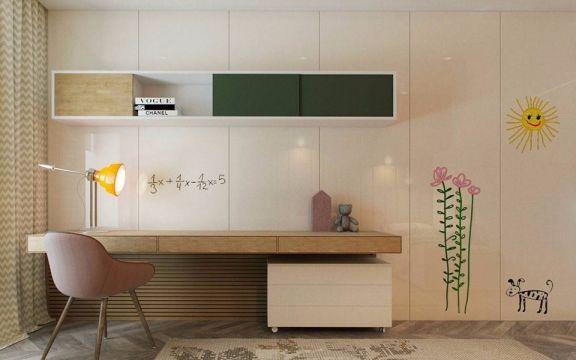 书房黄色书桌现代简约风格效果图
