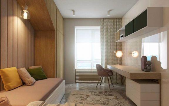 书房黄色窗帘现代简约风格装修效果图