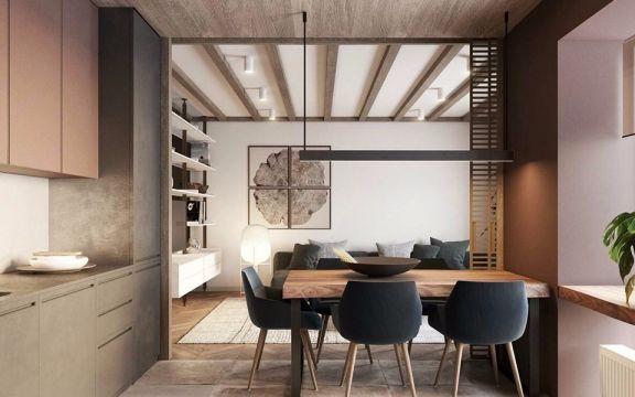 餐厅咖啡色餐桌现代简约风格装潢效果图