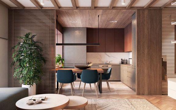 厨房咖啡色橱柜现代简约风格装饰图片