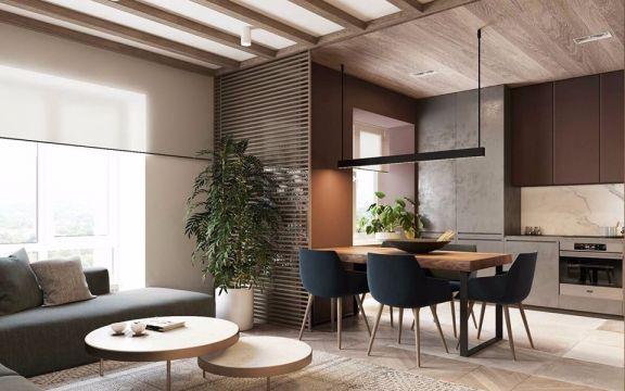 厨房咖啡色餐桌现代简约风格装潢图片