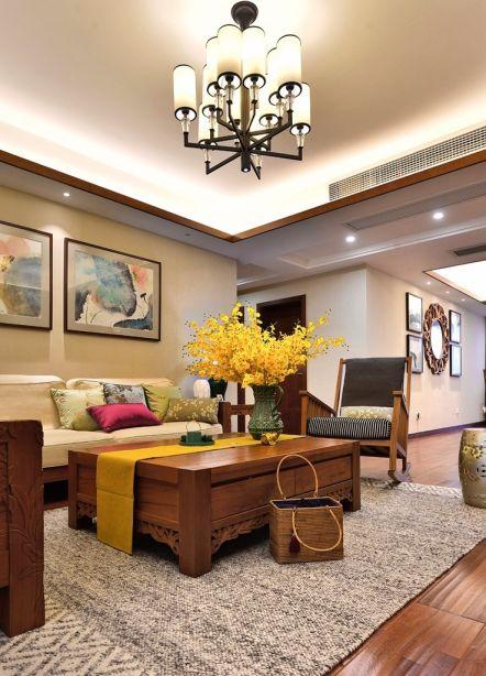 客厅茶几东南亚风格装潢设计图片