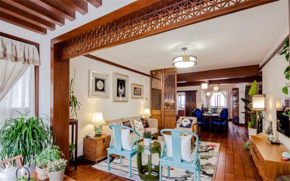 香格里拉东苑111平新中式三室两厅一卫装修效果图