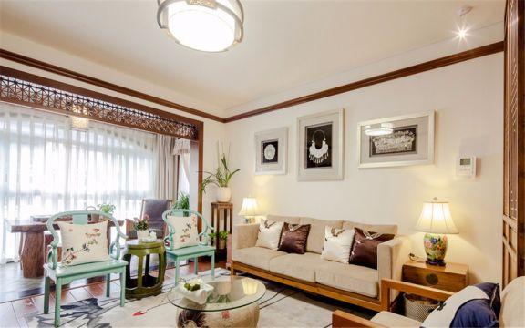 客厅白色背景墙新中式风格装潢设计图片