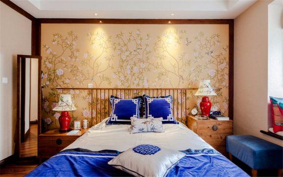 卧室白色吊顶新中式风格装饰效果图