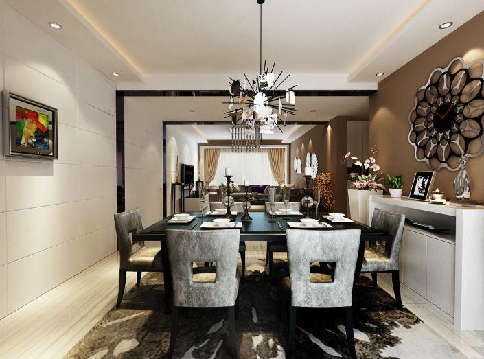 餐厅黑色餐桌现代简约风格装饰设计图片