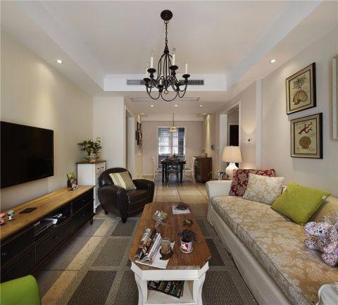 客厅咖啡色茶几美式风格装饰效果图