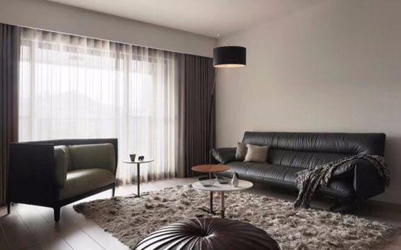 客厅黑色沙发北欧风格装潢设计图片