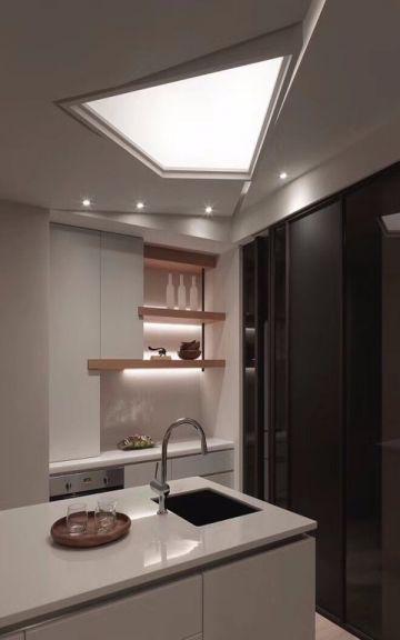 厨房白色厨房岛台北欧风格效果图