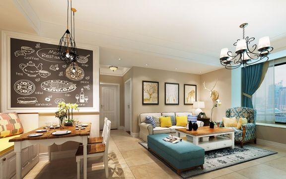 客厅蓝色窗帘混搭风格装潢设计图片