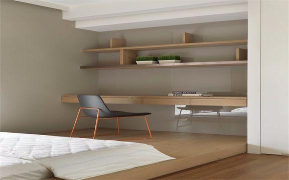 简洁现代咖啡色书桌装饰实景图片