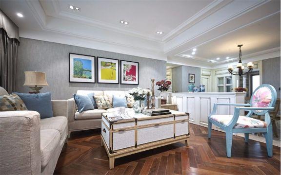 客厅白色茶几美式风格装潢效果图