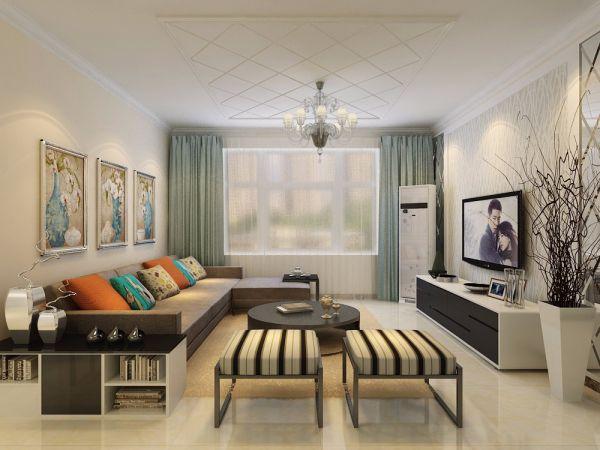 现代简约风格107平米三室两厅新房装修效果图