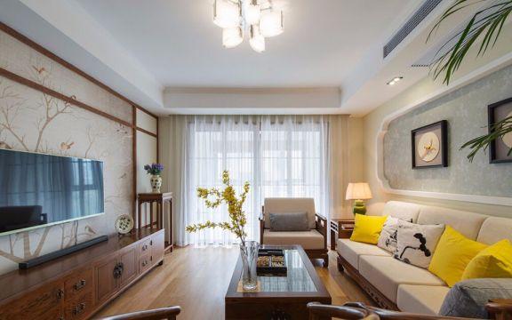阳光城上府120平米新中式风格三居装修效果图
