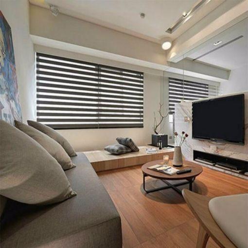起居室背景墙日式风格装修设计图片