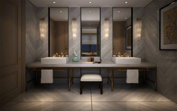 卫生间地板砖新中式风格装修图片