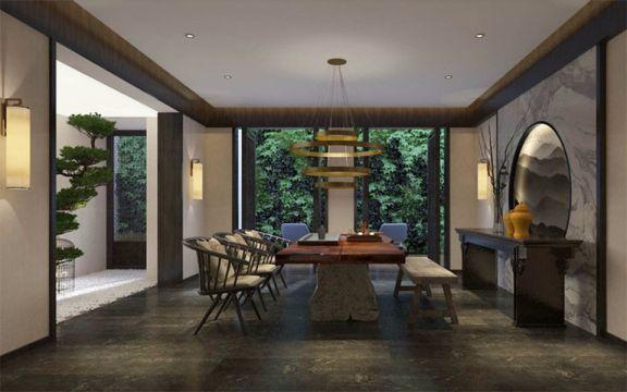 起居室地板砖新中式风格装修设计图片